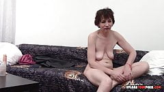 MILF takes her clothes off and masturbates