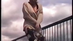 Mature Blonde Naked Under Coat Walking On Overbridge