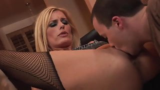 Sexy blond mature milf in fishnet fucks a guy