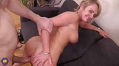 Mature mother sucks and fucks big cock