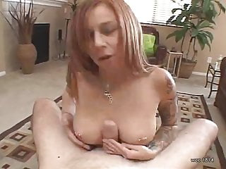 Cum slutt tatoo - Hot redhead with tatoos handjob and cum play