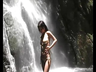 Pregnant beautiful naked Beautiful naked asian by the waterfall
