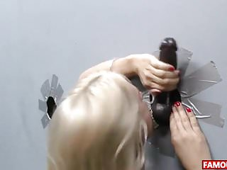 Rave red girl glory hole Sarah vandella gets the biggest glory hole cock