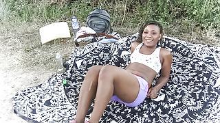 Horny Black Hiker Girl Fucking Outdoors