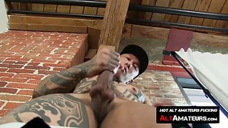Tattooed Asian homosexual stud rubs his hairy dick solo