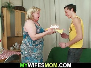 Milfs see big dick Wife goes crazy seeing her busty mother riding his dick