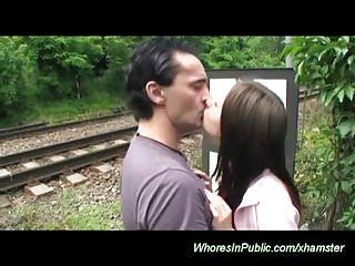 Busty teens cumshots - Busty teens first threesome in public