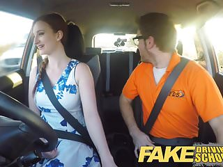 Vintage driving Fake driving school posh freaky redhead with ginger bush