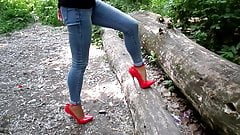 Extreme heels and jeans, my sexy legs,walk in the woods
