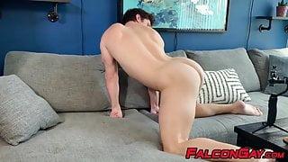 Devin Franco anal plays himself while Pierce Paris jerks off