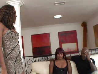 Girls having threesomes Hot black bitches have hardcore threesome fuck with a stud
