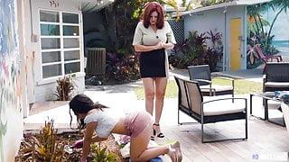 18yo Schoolgirl Needs Summer Job, Mature Neighbor Helps!