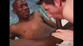 White guy sucking black cock like a champ