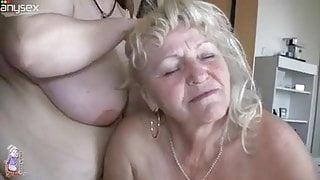 Pallid old blonde kneels down to suck huge boobs
