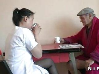 Young nurse lesbians - Young nurse blows an old man