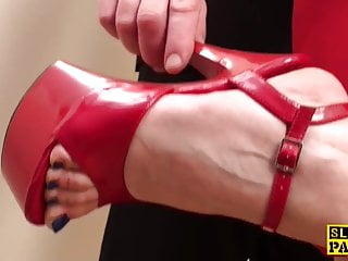 Domination fetish debate - British footjob sub getting dominated