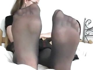Cum covered pantyhose feet - Nylon covered feet