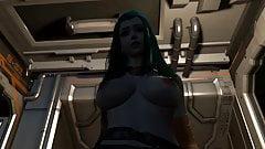 (VAM 3D) Blue alien queen pays tribute