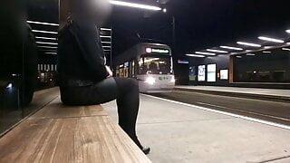 Crossdresser masturbating in public at tram station