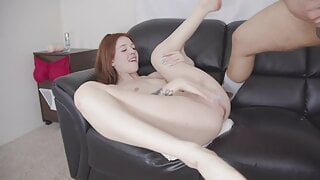 Sexy redhead babe Madi Collins fucked hard during casting