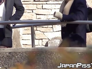 Men with cocks out in public - Japanese babe and her friend piss together out in public