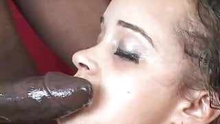 Cock crazed ebony girl get a throat and pussy pounding
