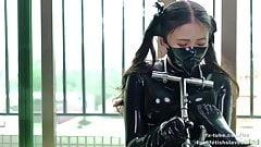 Cute latex girl metal bondage and breathplay