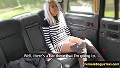 Inked british cabbie licks her les passenger