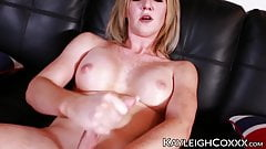 Blonde tgirl in stockings Kayleigh Coxx jerking off and cums