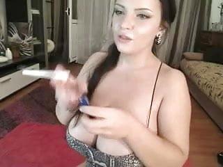 Largest breast on record - Big juicy breast on webcam teasing