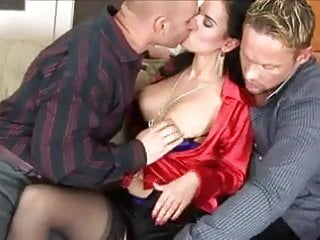 Satin lover blouse sexy Brunette in red satin blouse threesome