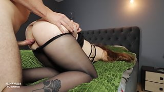 Fucked a big ass girlfriend in pantyhose and cum on her legs