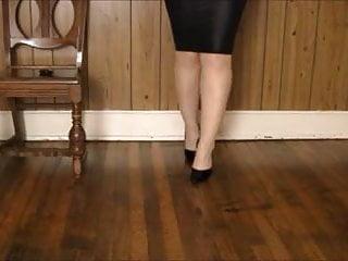 Stocking and leg sex Shiney skirt, heels stockings and leg play