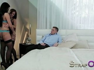 Getting over sexual insecurities - Strapon she gets both holes fucked by guy and bi-sexual