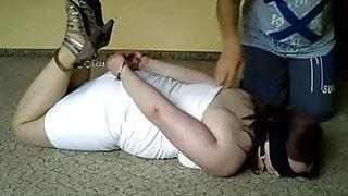 German girl Sandra hogcuffed by Friend