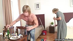 Cleaning mature woman enjoys riding his dick