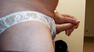 Crossdresser cumming in lace panties