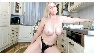 Sexy older blonde lady in white dress with shaved pussy