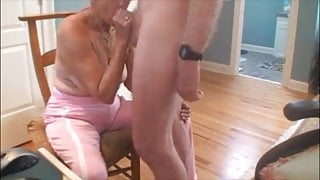 Very old grandma sucking dick and getting cum on her tits