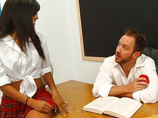 Tight teacher pussy - Latina schoolgirl seduces her professor