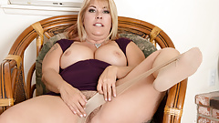 American milf Joclyn Stone fingers nyloned and hairy pussy