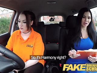 Showing tits driving - Fake driving school jailbird with big tits eats shaven pussy