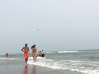 Unlined bikini bottom Dw pink bottom bikini teen walking with boy