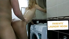 YOUNG COUPLE FUCK IN PARENTS' LAUNDRY ROOM