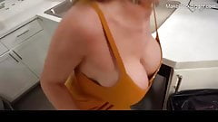 Threesome sex with big tits MILF and horny slut. Cum on face