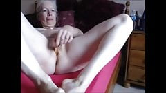 White haired grandma masturbates and records