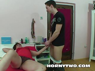 Stepmom gives her stepson birthday sex Chubby shaved stepmom cannot resist her stepson to give his