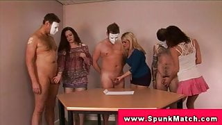 CFNM handjob party with femdoms tugging to get cumshot