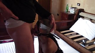 Laura On Heels, 2021, bound and throated on her knees