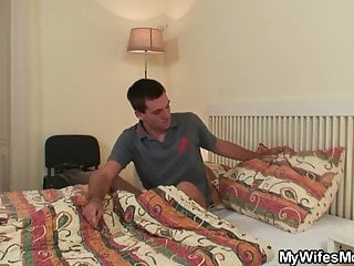 Mom in law sex tapes Old mother in law wakes him up for taboo sex